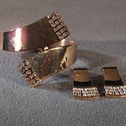 SALE Vintage Yellow Gold Tone  Multi Round Rhinestone Fancy  Hinged Bypass Cuff Bangle Bracele