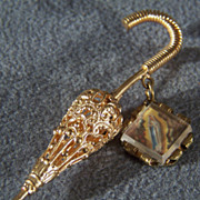 SALE Vintage Yellow Gold Tone Fancy Scrolled Etched Filigree Umbrella Design Religious Figural