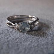 SALE Vintage Sterling Silver  Round Aqua Marine  2  Round White Topaz Fancy Engagement Wedding