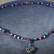 SALE Vintage Sterling Silver  Multi Round Garnet Amethyst Rose  Quartz Turquoise Pendant Charm