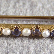 Vintage 18 K Yellow Gold 5  Round  Cultured Pearl  5  London Blue Topaz  Pin Brooch        W