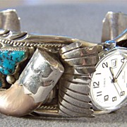 Vintage Sterling Silver Southwest Style Ornate Turquoise Bear Claw Cuff Bracelet Watch