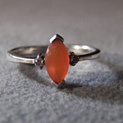 SALE Vintage  Sterling Silver Marquise Mexican Fire Opal 2 Round  Diamond Fancy   Band Ring, .