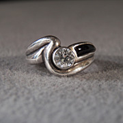 SALE Vintage  Sterling Silver Bold  oblong Black Onyx Round White Topaz  Fancy   Curved Weddin