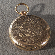 Vintage 12 K Yellow Gold Filled Victorian Style Watch Locket Pendant Charm Fancy Etched