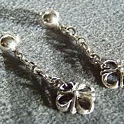 SALE Vintage Sterling Silver  bold scrolled  dangle  Pierced Dangle Earrings      W