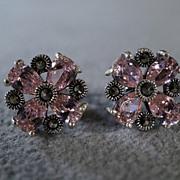 SALE Vintage Sterling Silver 8 Pear Pink Topaz Round Marcasite Bold Stud Pierced Earrings