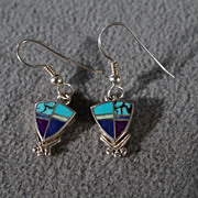SALE Vintage Sterling Silver Multi Shaped Inlayed Turquoise Lapis  euro Wire Pierced Earrings
