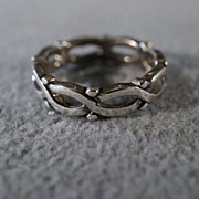 SALE vintage Sterling Silver Fancy  Raised Relief Scrolled  Wedding Eternity Style  Band Ring