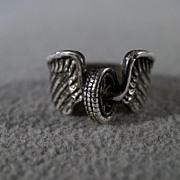 SALE Vintage Sterling Silver Fancy Scrolled Etched Raised Relief Horn Eagle Wing Design Weddin