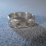 SALE Vintage Sterling Silver Italian  Fancy  Etched Nail Head  Eternity Design Curved Wedding