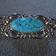 SALE Vintage Sterling Silver Large Domed Oval Turquoise Fancy Scrolled filigree Pin Brooch