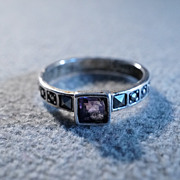 SALE Vintage Sterling Silver Square African Amethyst Round Square Marcasite Eternity Wedding .
