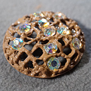 SALE Vintage Enameled Multi Round Aurora Borealis Rhinestone Domed Large Button