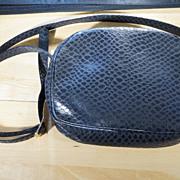 Vintage Textured Black Leather Famous Designer Signed Salvatore Ferragamo Fancy Hand Bag Purse, Circa Early 1980