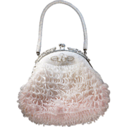 Vintage Silver Tone Multi Micro Round Iridescent Shades Ivory Pink Multi Loop Dangle Glass Bead Evening Purse HandBay