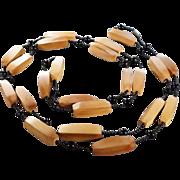 SALE Vintage  Multi Oblong Wood Multi Round Jet Black Glass Bead Tennis Style Necklace