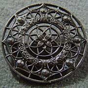 SALE Vintage silver wide  fancy filigree ornate pin brooch
