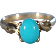 SALE Vintage 10 K Yellow Gold  Oval  Sleeping Beauty Turquoise Fancy Design Band Ring, Size 4.