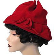 Vintage Hat Red Velvet Bow