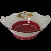 Art Deco Bowl Rare Moderne Classic Indiana No. 602 Red White