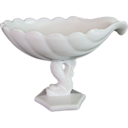 Westmoreland Compote Dolphin Shell Milk Glass 1950s