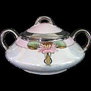 Art Nouveau Jaeger Sugar Bowl Lily Pads Lustre