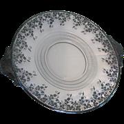 SALE Duncan & Miller # 111 Terrace Handled Platter Silver Overlay