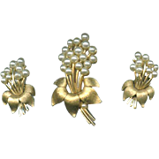 Trifari Demi Parure Brooch Earrings