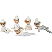 SALE Vintage Lefton Pixie Set Figurines White Sprites Set of 5