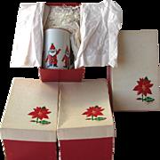 Vintage Georges Briard Santa Claus Mugs MIB
