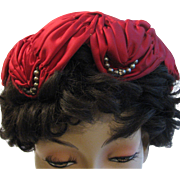 Vintage Hat Red Ruched Rhinestones