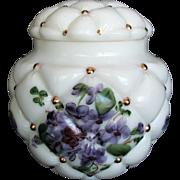 Vintage Consolidated Con Cora Regent Violet Glass Vase Jar