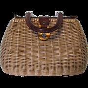 Vintage Rattan Purse Wicker Leather