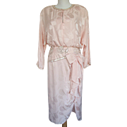 1980s Oleg Cassini Dress Beaded Peach
