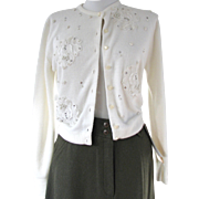 1950s Cardigan White Rhinestones Lace Evening