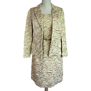 Vintage Lillie Rubin Gold Brocade Suit 1970s