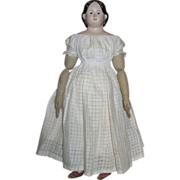 "SOLD Thank you 'M'_24"" Greiner American Paper Mache Doll Circa 1858_individual stitched f"