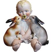 SOLD Thank you 'M'_Easter Delight_w/ Bunnies_Piano Baby and Pacifier_Germany_Rare find