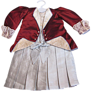 """Aqua N Burgundy satin silk N lace 2 pc outfit to fit 21"""" doll fully lined"""