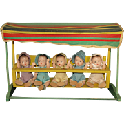 """Rare Mme Alexander 7"""" Dionne Quintuplets in a Swing A /O"""