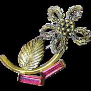 Beautiful 1940's Retro Gilt Filigree Flower Pin with Pink Glass Stones