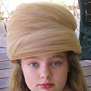 Absolutely Beautiful Whipped Beige Chiffon 1960's Cloche