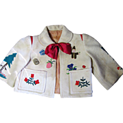 SALE Darling Old German Appliqued Wool Jacket for Bear or Doll