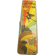 SALE Spooky Fun Circa 1940,s, Hinged Metal School Pencil Box, Mother Goose with Flying Witch