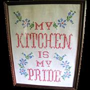 "SALE Homey Cross Stitch ""My Kitchen is My Pride"" Vintage Picture"