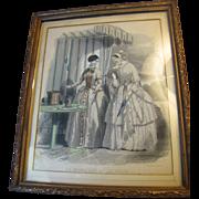 """SALE Circa 1840's """"Le Moniteur de la Mode"""" Original Framed Fashion Plate"""