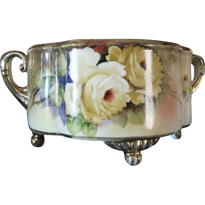 1918 Hand Painted Noritake Gilt Floral Bowl