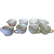 "Long Set of 8 ""Restaurant Wear"" Miniature Cups for Children's Doll Parties"