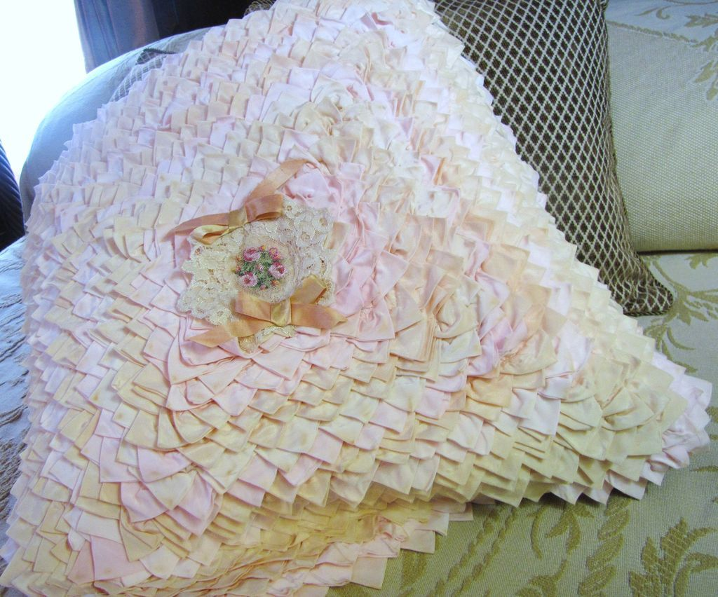 Very Shabby, Very Chic Ultra Ruffled Large Vintage Pillow Top
